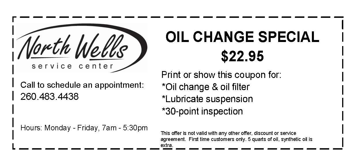 Oil Change Special Coupon $22.95